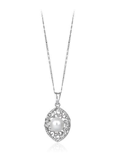 0,30 Ct Pırlanta Efekt Altın Vitta Pearl Kolye -Tophills Diamond Co.